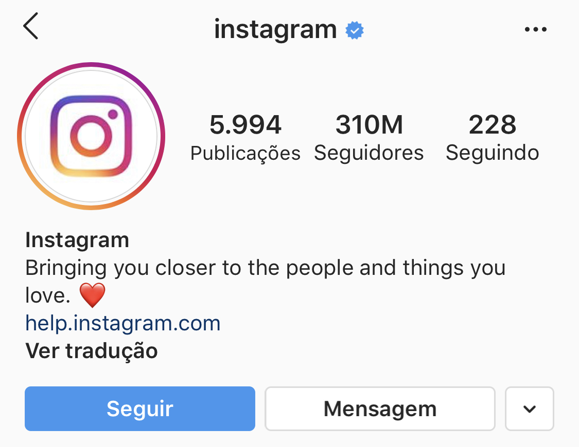 Perfil autenticado no Instagram
